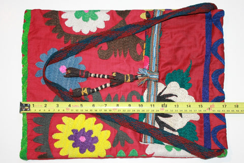 Embroidered Handbag / Laptop Case with Tassel size reference