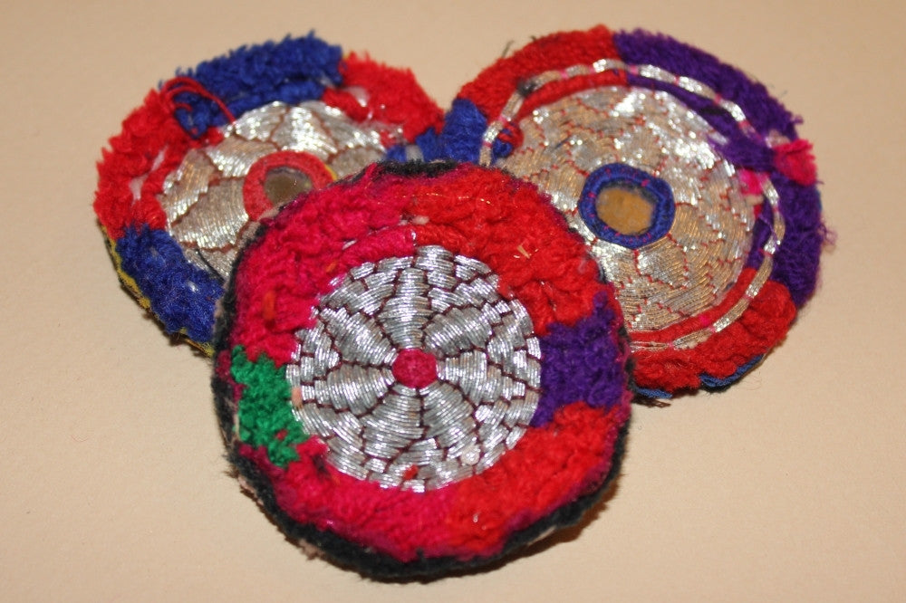 Silver Metallic Embroidery with Red and Blue close up 2