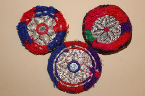 Silver Metallic Embroidery with Red and Blue