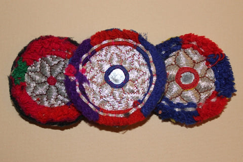 Silver Metallic Embroidery with Red and Blue close up