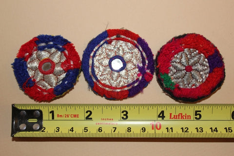 Silver Metallic Embroidery with Red and Blue size reference