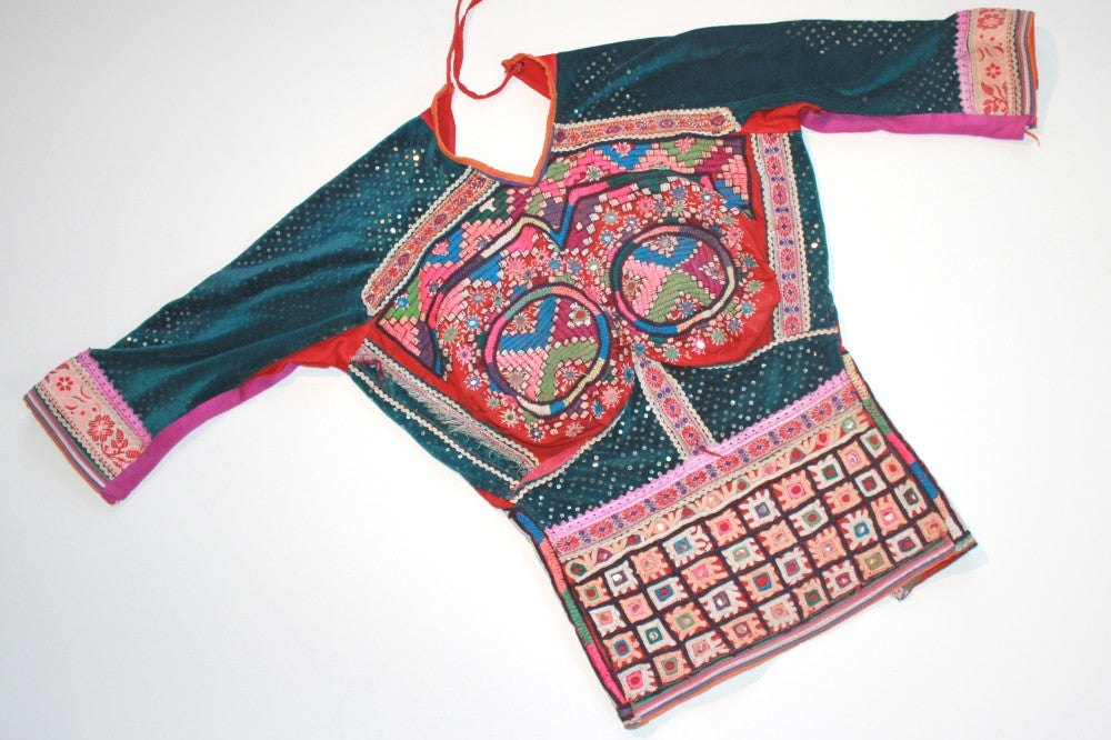 Embroidered Rabari Choli - Teal and Rust