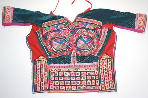 Embroidered Rabari Choli - Teal and Rust full view