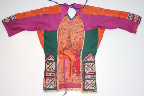 Vintage Embroidered Rabari Choli - Orange and Hunter Green back view