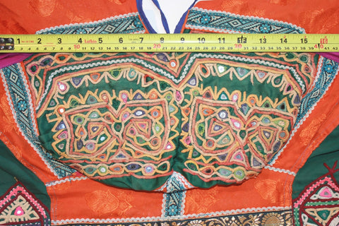 Vintage Embroidered Rabari Choli - Orange and Hunter Green bust size