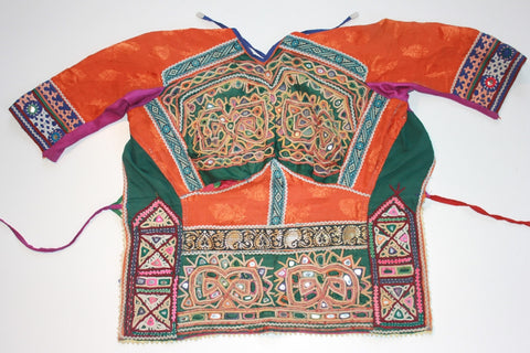 Vintage Embroidered Rabari Choli - Orange and Hunter Green full view