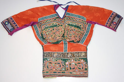 Vintage Embroidered Rabari Choli - Orange and Hunter Green