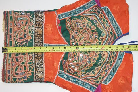Vintage Embroidered Rabari Choli - Orange and Hunter Green length