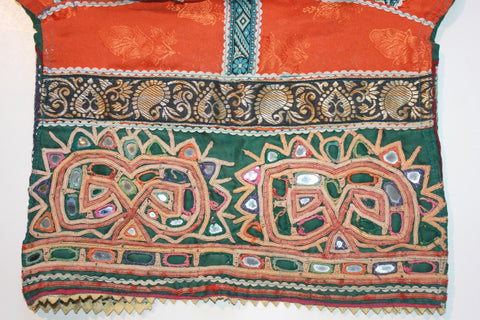 Vintage Embroidered Rabari Choli - Orange and Hunter Green tummy