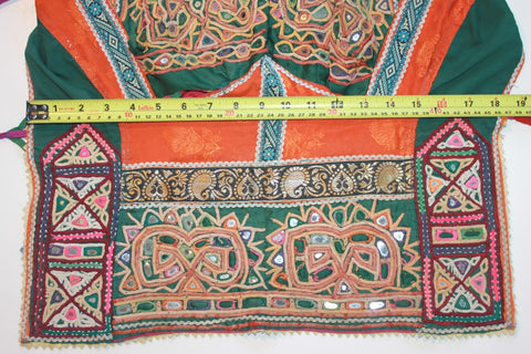 Vintage Embroidered Rabari Choli - Orange and Hunter Green tummy size
