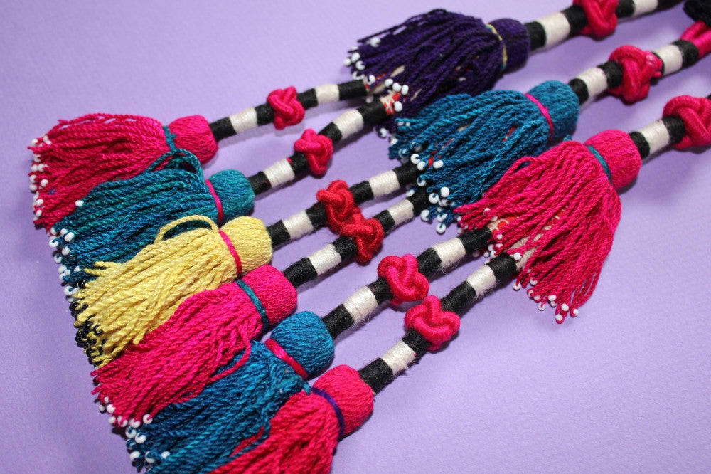 Vintage Trio of Colorful Turkoman Tassels close