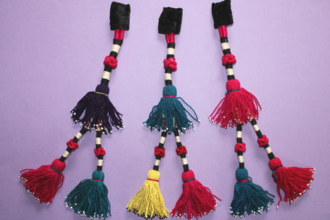 Vintage Trio of Colorful Turkoman Tassels