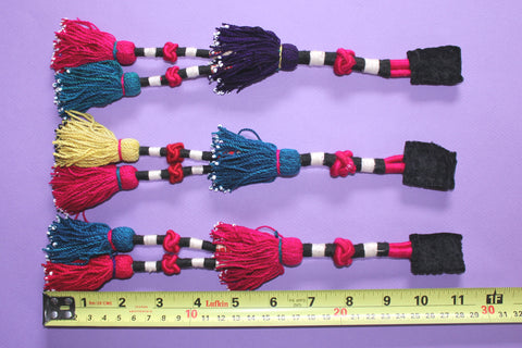 Vintage Trio of Colorful Turkoman Tassels size ref