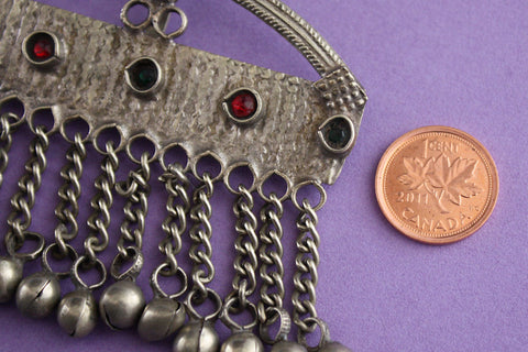 arched tribal pendant with bells size reference