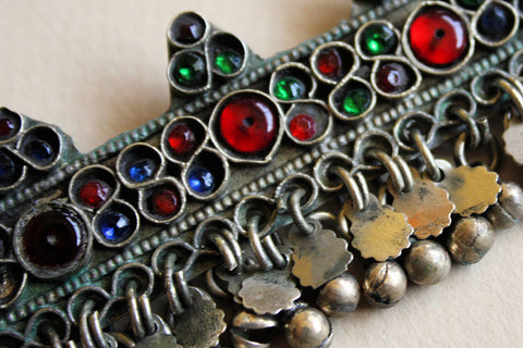 Rectangular Kuchi Tribal Pendant with Pretty Glass Gems close up