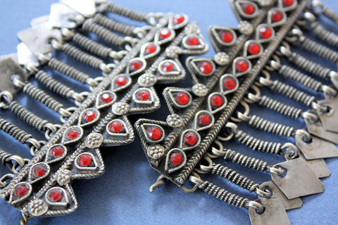 Pair of Tribal Barrettes Set with Red Glass Gems close up