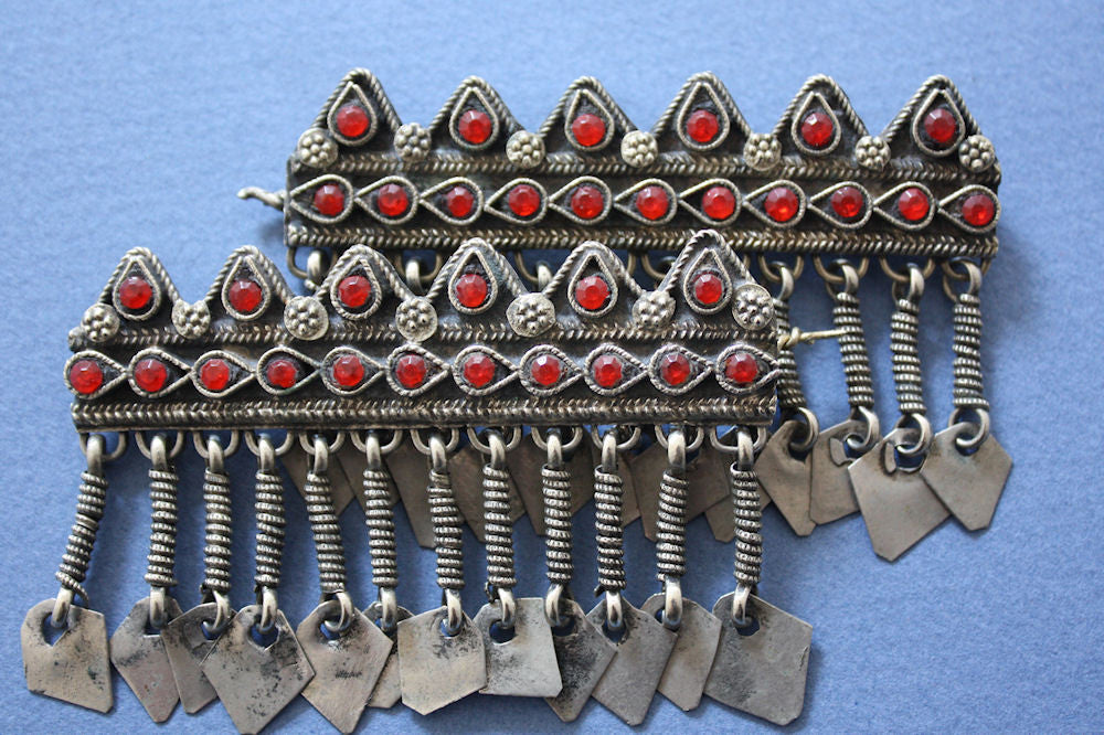 Pair of Tribal Barrettes Set with Red Glass Gems
