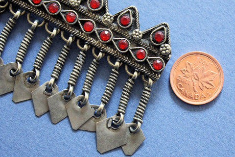 Pair of Tribal Barrettes Set with Red Glass Gems size reference