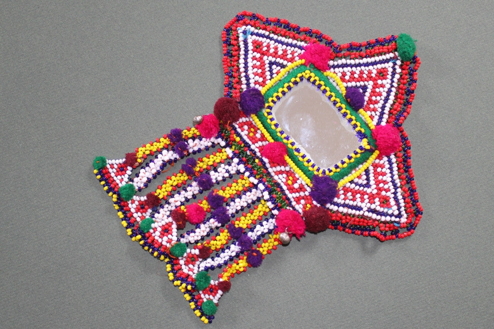 Tribal Patch with Large Mirror and Beaded Dangles