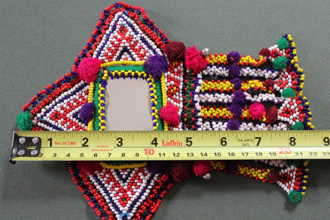 Tribal Patch with Large Mirror and Beaded Dangles length