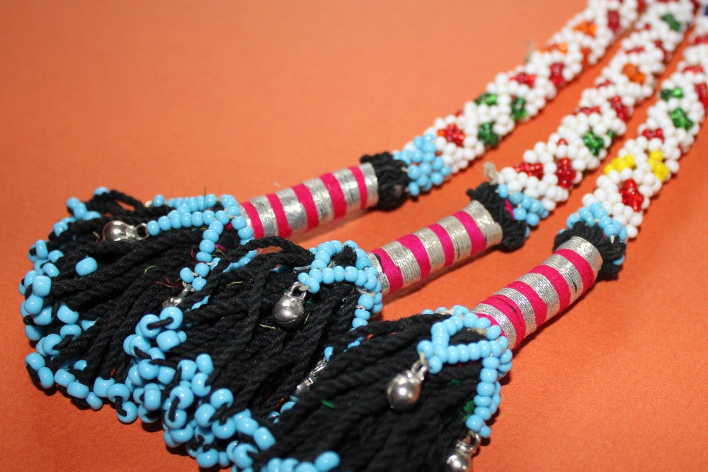 "10"" Beaded Tribal Tassel - Multicolored With Silver Bells close"