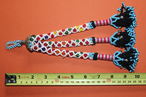"10"" Beaded Tribal Tassel - Multicolored With Silver Bells size ref"