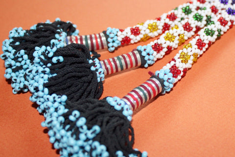 "11"" Beaded Tribal Tassel - Multicolored close"
