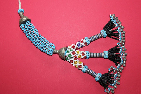 "Beaded Tribal Tassel (12"") With Double Metal Caps"