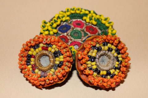 Beaded Tribal Medallions with Mirrors close up 2