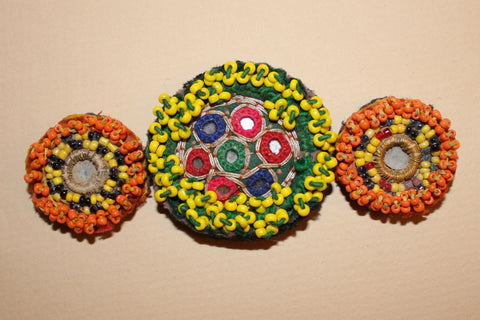 Beaded Tribal Medallions with Mirrors close up