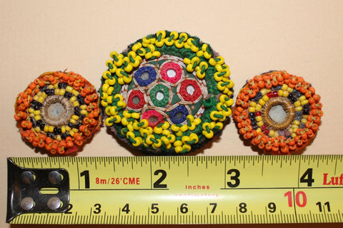 Beaded Tribal Medallions with Mirrors size reference