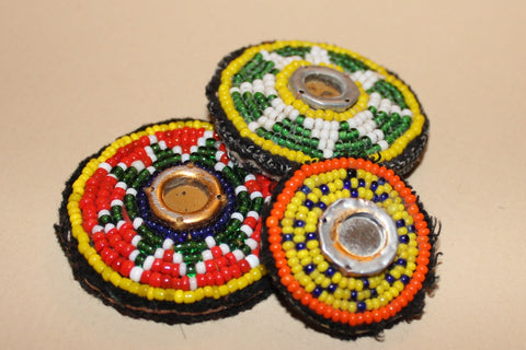 Tiny Trios - Beaded Tribal Patches with Mirrors