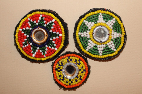 Beaded Tribal Patches with Mirrors close up
