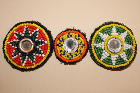 Beaded Tribal Patches with Mirrors close up 2