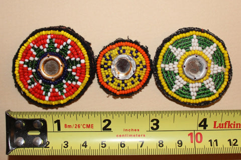 Beaded Tribal Patches with Mirrors size reference