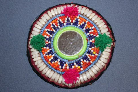 Mirrored Medallion with Pom Poms and Shells
