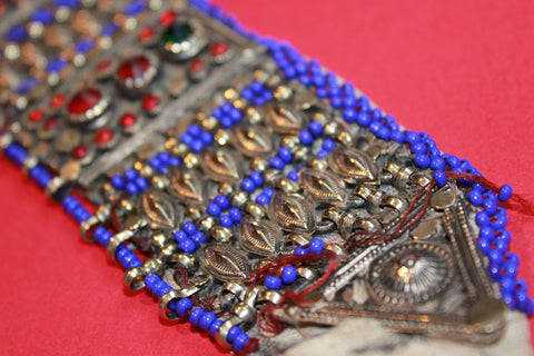 Tribal Choker with Cobalt Beading and Large Gems end view