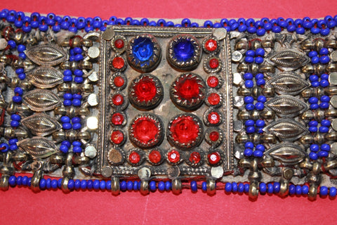 Tribal Choker with Cobalt Beading and Large Gems close up