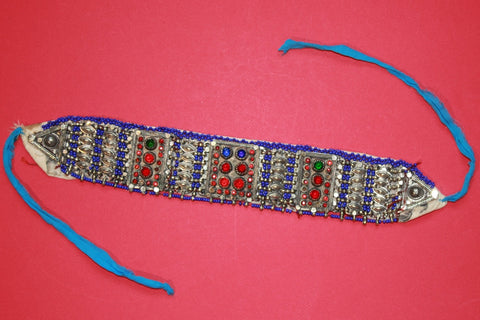 Tribal Choker with Cobalt Beading and Large Gems 2