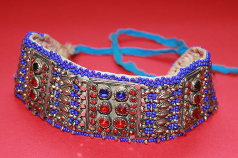 Tribal Choker with Cobalt Beading and Large Gems