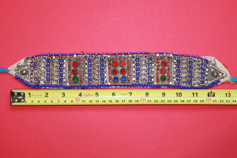 Tribal Choker with Cobalt Beading and Large Gems size reference