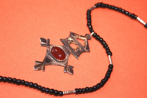 Tuareg Southern Cross with Carnelian Cabochon close up
