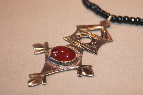 Tuareg Southern Cross with Carnelian Cabochon close up of pendant
