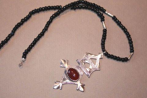 Tuareg Southern Cross with Carnelian Cabochon side view