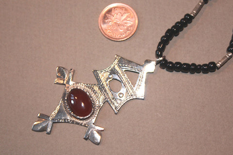 Tuareg Southern Cross with Carnelian Cabochon size reference