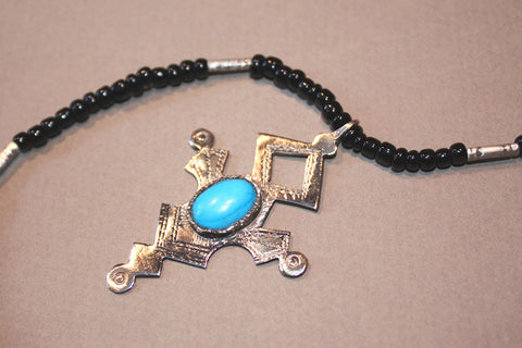 Tuareg Southern Cross with Turquoise Cabochon