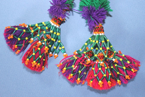 "13"" Bright Pom Pom Tassel with Metal Cap"