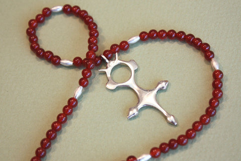 Tuareg Croix du Sud Necklace with Carnelian Beads side view