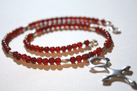 Tuareg Croix du Sud Necklace with Carnelian Beads close up of beads