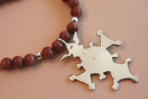 Sterling Silver Croix du Sud with Goldstone Beading back view